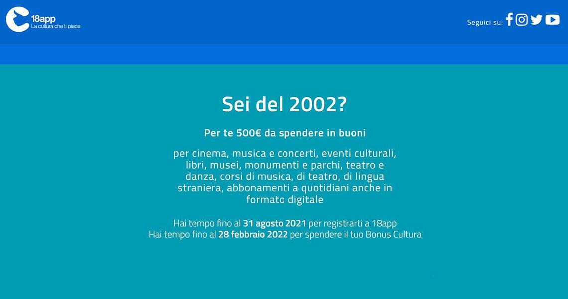 Bonus cultura per i ragazzi nati nel 2002